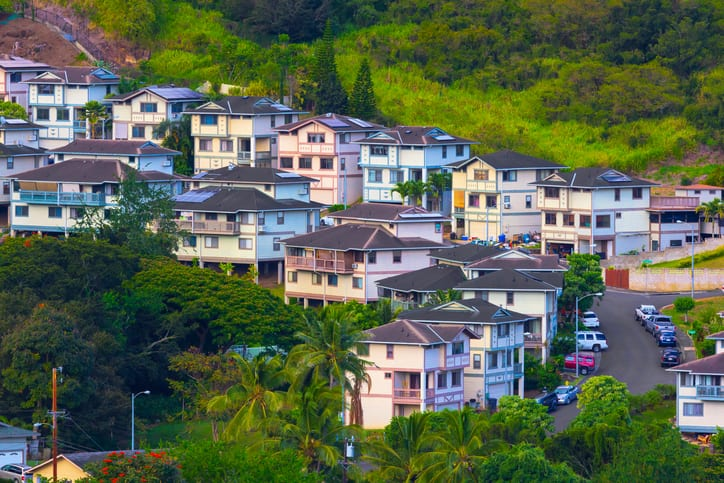 Scenic Honolulu Oahu Hawaii Suburban Neighborhood showing homes with new ADUs concept