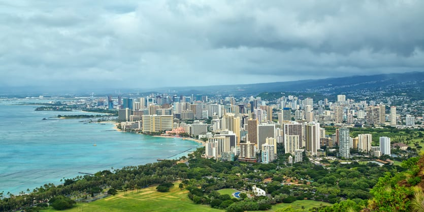 Panoramic view of Waikiki and Honolulu as seen from Diamond Head