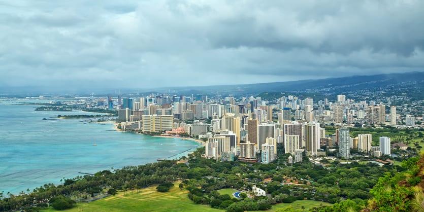 Panoramic view of Waikiki and Honolulu as seen from Diamond Head