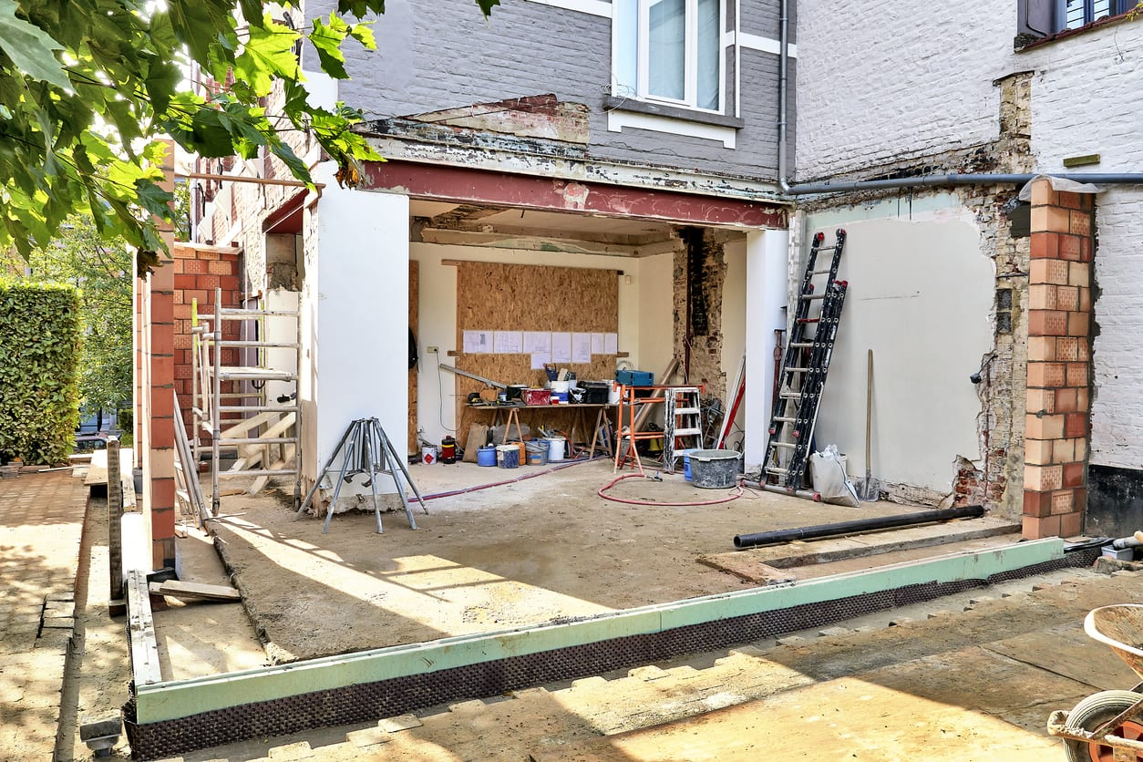 New wall and ground for a modern extension of a house. ADU
