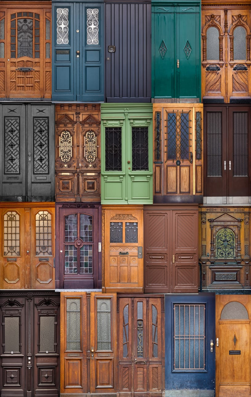 20 different European front entrance doors. set of colorful wooden doors and different knobs and handles